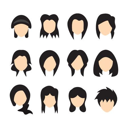Vector illustration of Hair styles for women. Flat design.