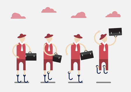 Character design of disable person that is business man with red cloth and cloud. Illustration