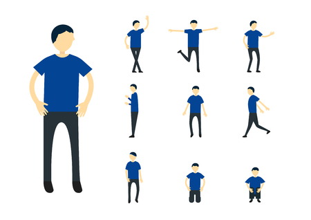 Set of character design of person with blue shirt isolated on white background. Illustration