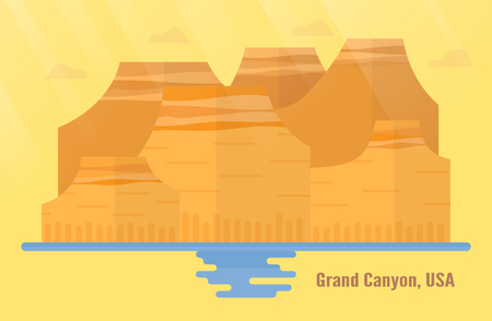 Arizona in USA landmarks for travelling with Grand Canyon National Park, mountain and water. Vector illustration with copy space and flare of light on yellow and orange background.