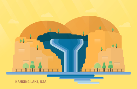 U.S. State of Colorado landmarks for travelling with Hanging Lake, water fall and trees. Vector illustration with copy space and flare of light on yellow and orange background.