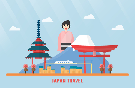 Thailand, Udonthani - 07 August 2018: Japan landmarks with Mount Fuji, Itsukushima Shrine, electric train, Sakura flower, pagoda and Japanese girl. Vector illustration with blue sky and cloud.