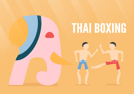 Character design of Thai boxing people with elephant isolated on orange background. Vector illustration in flat design for poster, travelling with light. 免版税图像 - 108853832