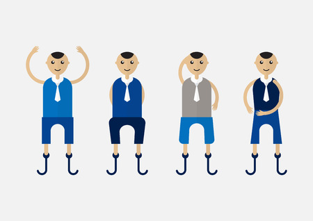 Character design of disable person that is business man with blue cloth. Illustration