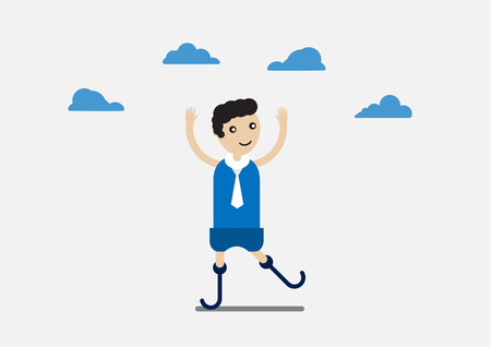 Character design of disable person that is business man with blue cloth and cloud.