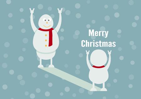 Sneeuwpop familieportret op blauwe achtergrond voor vrolijk kerstfeest op 25 december. De zoon wordt vader.