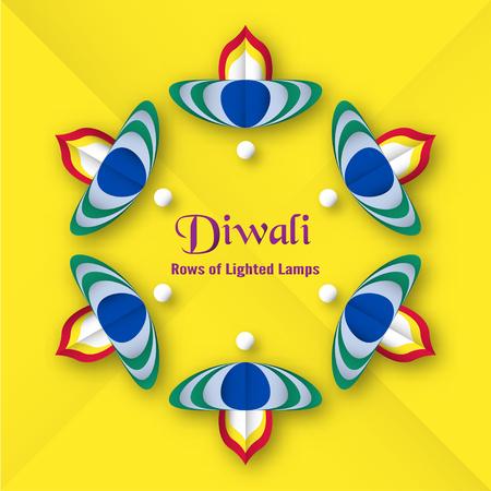 Invitation card for Diwali festival of Hindu. Vector illustration design in paper cut style.