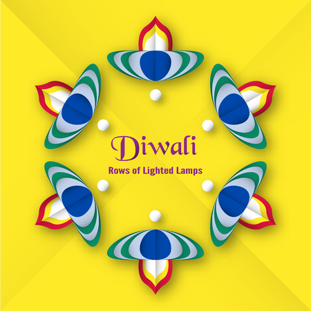 Invitation card for Diwali festival of Hindu. Vector illustration design in paper cut style.
