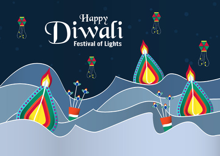 Invitation background for Diwali, festival of lights of Hindu. Vector illustration design in paper cut and craft style.