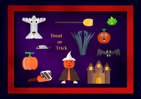 Elemento para el día de Halloween con calabaza hombre viste sombrero blanco, barrido, frutas de calabaza, vegetales, castillo, murciélago y árbol sobre fondo púrpura oscuro.