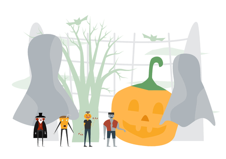 Minimal scene for halloween day, 31 October, with monsters that include dracula, pumpkin man, frankenstein. Vector illustration isolated on white background. Illustration