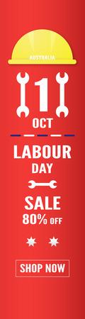 Banner background for Labour day, Austratlia, in 1 october. Vector illustration in paper cut and digital craft. Vector Illustration