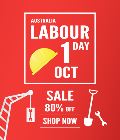 Banner background for Labour day, Austratlia, in 1 october. Vector illustration in paper cut and digital craft.
