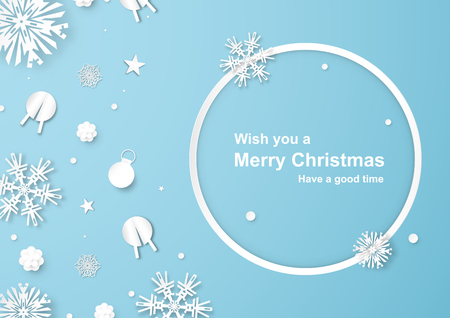 Christmas decoration on blue background in paper cut and craft with snowflake. Vector illustration in digital craft style. Illustration