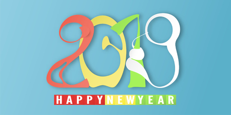 Happy New Year 2019 with on blue background. Vector illustration with calligraphy design of number in paper cut and digital craft style.