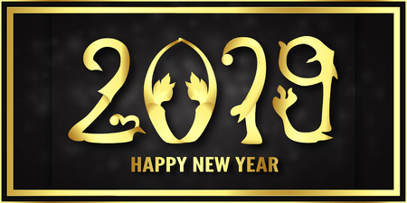 Vector illustration for Happy new year 2019. Its year of the pig. Abstract template with golden design for ceremony the end-of-year. Иллюстрация