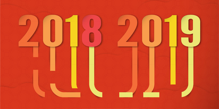 Happy New Year 2019 with shodow of cloud on red background. Vector illustration with colorful number in paper cut and digital craft. The concept shows that It has changing of the year of 2018 to 2019.