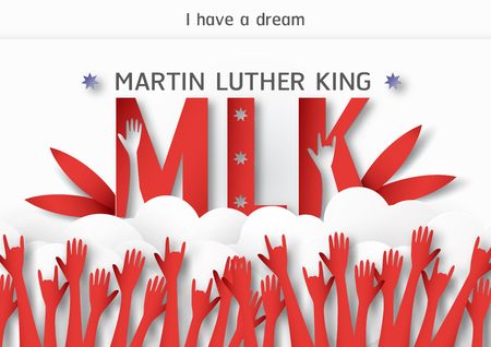 Thailand, Udonthani - January 16, 2019 : Happy Martin Luther King Jr. Day with paper cut and craft style. Vector illustration for background, banner, poster, advertising, invitation card and template.