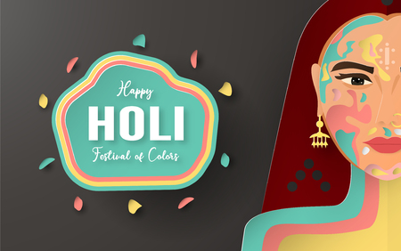 Happy Holi, Festival of Colors. Template element design for template, banner, poster, greeting card. Vector illustration in paper cut, craft, origami type with flat lay style. Illustration