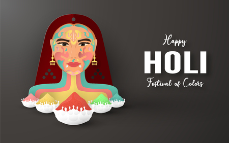 Happy Holi, Festival of Colors. Template element design for template, banner, poster, greeting card. Vector illustration in paper cut, craft, origami type with flat lay style. Ilustração
