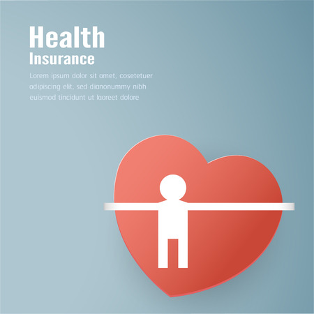 Vector illustration in concept of health insurance. Template design is on pastel blue background in 3D paper cut style. 向量圖像