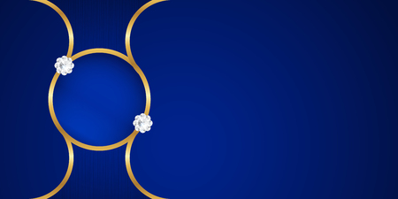 Abstrakter blauer Hintergrund im Premium-indischen Stil. Schablonendesign für Abdeckung, Geschäftspräsentation, Web-Banner, Hochzeitseinladung und Luxusverpackung. Vektorillustration mit goldenem Rand.