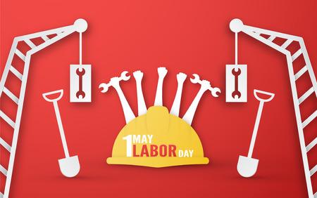 Fijne Dag van de Arbeid op 1 mei van jaren. Sjabloonontwerp voor spandoek, poster, omslag, advertentie, website. Vectorillustratie in papier knippen en ambachtelijke stijl op rode achtergrond.