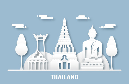 April 03, 2019: Top famous landmark and building of Thailand country for travel and tour. Vector illustration design in paper cut and craft style on blue background. Çizim