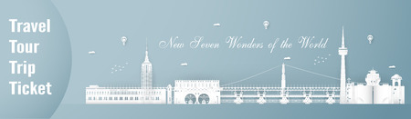 April 03, 2019: Top new seven famous landmark and building of tje world for travel and tour. Vector illustration design in paper cut and craft style on blue background. Illustration