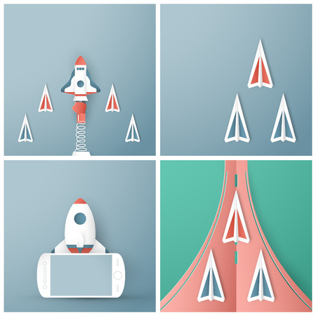 Vector illustration with start up concept in paper cut, craft and origami style. Rocket is flying on blue sky. Template design for web banner, poster, cover, advertisement. Its art craft for kids. Çizim