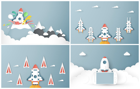 Vector illustration with start up concept in paper cut, craft and origami style. Rocket is flying on blue sky. Template design for web banner, poster, cover, advertisement. Its art craft for kids. Illustration