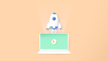Vector illustration with start up concept in paper cut, craft and origami style. Rocket is flying. Template design for web banner, poster, cover, advertisement. Its art craft for kids.