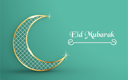 Template for Eid Mubarak with green and gold color tone. 3D Vector illustration in paper cut and craft  for islamic greeting card, invitation, book cover, brochure, web banner, advertisement. Фото со стока - 124968229
