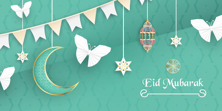 Template for Eid Mubarak with green and gold color tone. 3D Vector illustration in paper cut and craft  for islamic greeting card, invitation, book cover, brochure, web banner, advertisement.  イラスト・ベクター素材