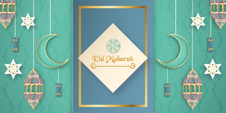 Template for Eid Mubarak with green and gold color tone. 3D Vector illustration in paper cut and craft  for islamic greeting card, invitation, book cover, brochure, web banner, advertisement. Фото со стока - 124968147