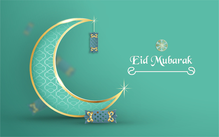 Template for Eid Mubarak with green and gold color tone. 3D Vector illustration in paper cut and craft  for islamic greeting card, invitation, book cover, brochure, web banner, advertisement. Фото со стока - 124968149