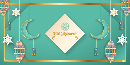 Template for Eid Mubarak with green and gold color tone. 3D Vector illustration in paper cut and craft  for islamic greeting card, invitation, book cover, brochure, web banner, advertisement. Фото со стока - 124968151