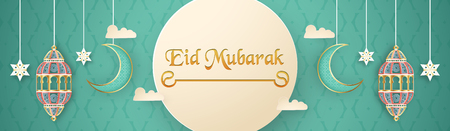 Template for Eid Mubarak with green and gold color tone. 3D Vector illustration in paper cut and craft  for islamic greeting card, invitation, book cover, brochure, web banner, advertisement. Фото со стока - 124968155