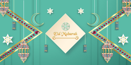 Template for Eid Mubarak with green and gold color tone. 3D Vector illustration in paper cut and craft  for islamic greeting card, invitation, book cover, brochure, web banner, advertisement. Фото со стока - 124968156