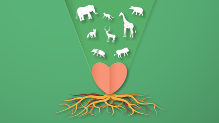 Wildlife animals with manipulation concept. Minimalism deign in paper cut and craft style. Art digitalcraft for world environment day.