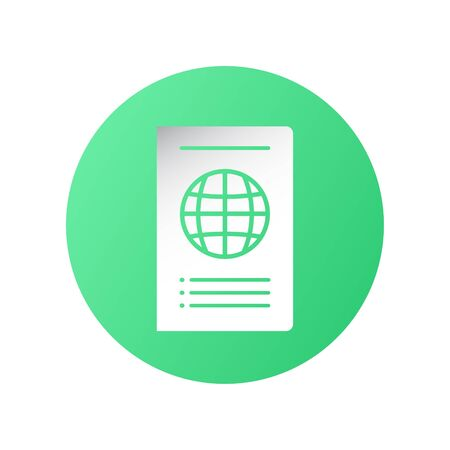 Icon design in concept of travelling with international passport. Vector illustration in flat style.