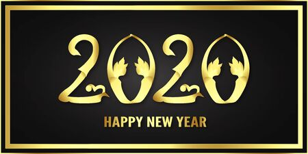 Happy new year 2020, year of the rat. Template design for cover book, banner, invitation, poster, flyer. Vector illustration in paper cut and craft style.