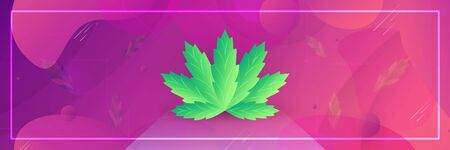 Cannabis Leaf element in template background. Vector illustration is on fluid gradient style for web design, banner, business advertisement, landing page, sale poster.