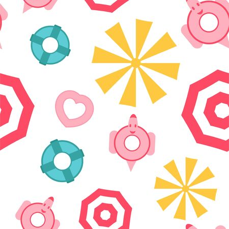 Pattern design for summer season. Vector illustration is in flat style for gift wrapping paper, texture, kid book cover. Top view. Иллюстрация