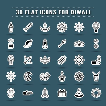 Bundle of icon design in concept of Diwali, festival of light. Vector element in flat style.