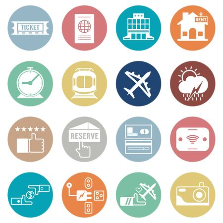 Bundle of icon design in concept of travel. Vector element in flat style.