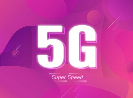 5G new speed of Internet for wireless and wifi connection. This is fast connection fo the world. Vector illustration design in fluid background concept with trend color 2019.