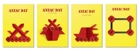 Bundle poster for Anzac day. Vector illustration in paper cut style.