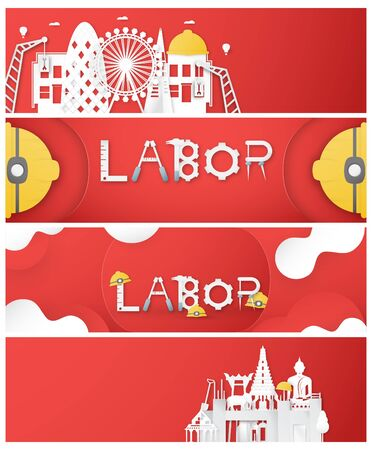 Happy Labor day of every country of the world. Bundle of template design for banner, poster, cover, advertisement, website. Vector illustration in paper cut and craft style on red background. Иллюстрация
