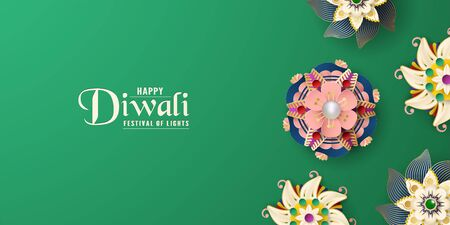 Diwali is festival of lights of Hindu for invitation background, web banner, advertisement. 3D Vector illustration design in paper cut and craft style. Tone colors is dark green.
